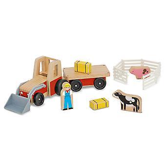 Melissa & Doug clásico madera granja Tractor juegan Set