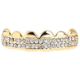 One size fits all bling Grillz - DOUBLE DECK TOP - gold