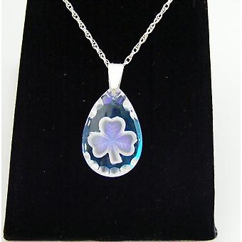Ice Blue Teardrop Shamrock Crystal Pendant
