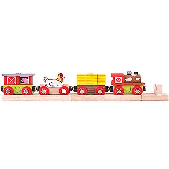 Bigjigs Rail Wooden Farmyard Train Railway Locomotive Engine Carriage Track