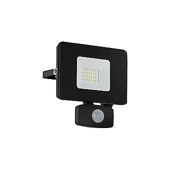 Eglo Budget Slimline 20W Black LED Floodlight With Movement Sensor