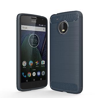 Motorola Moto G5 TPU tilfelle karbon fiberoptikk børstet beskyttende operasjon Blau