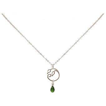 Colar de senhoras de gotas - uva pingente - prata 925 - folhas - Peridot - verde - YOGA - 45 cm
