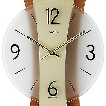 modern wall clock quartz wall clock polished brass Edition on core beech rear