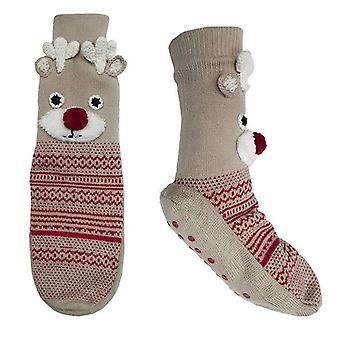 RJM Ladies Christmas Reindeer Rudolph Non-Slip Slipper Socks - M/L
