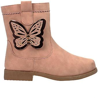 Girls pale pink ankle boots with butterfly trim