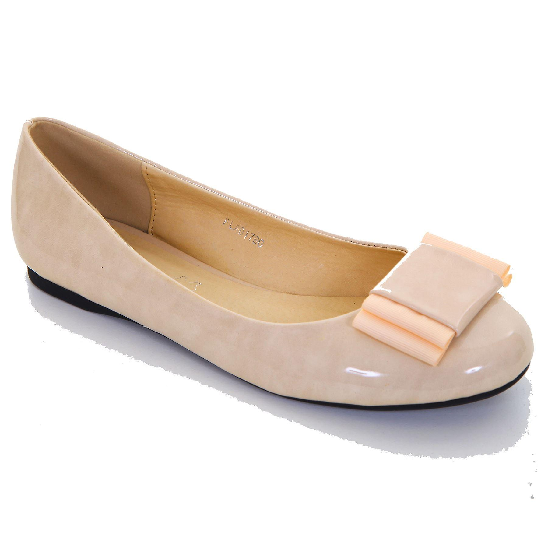 Hyvät keula aksentti patentti Smart Casual Comfort naisten Flats pumput kengät