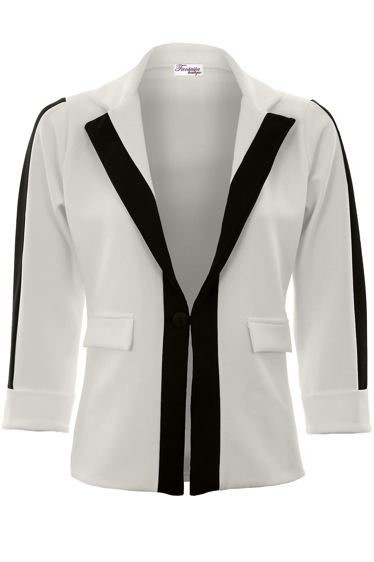 Ladies Turn Up 3/4 Sleeve Monochrome Panel Contrast One Button Blazer Jacket