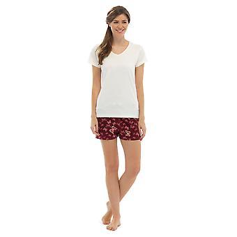 Damen v-neck Jersey Top & Schmetterling Print Shorts Sommer Pyjama Pyjama Nachtwäsche