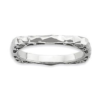 2.25mm 925 Sterling Argent Rhodium plaqué Expressions Polis Rhodium plaque Square Ring Bijoux Cadeaux pour Wom