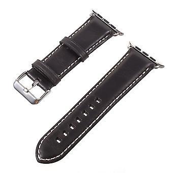 Vintage Äkta Läder Rem för Apple Watch 3/2/1 38mm - Svart