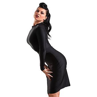 Purr Lingerie Women's Pencil Dress in Lycra Black Mistress Style Costume