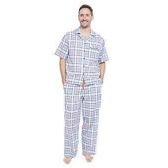 Cyberjammies 6344 Herren Oscar blau karierte Pyjama Top