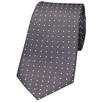 David Van Hagen Pin Dot zijde stropdas - grijs/wit