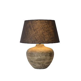 Lucide Ramses Cottage Round Ceramics Rust Brown Table Lamp