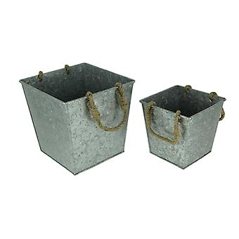 Rustic Galvanized Metal Rope Handle Square Planters Set of 2