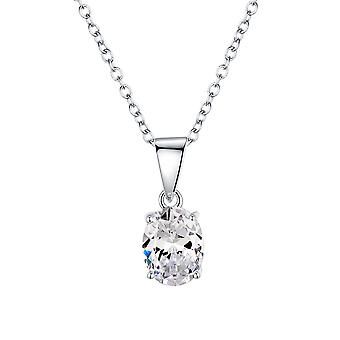 925 Sterling Silver Oval Cut Stone Pendant Necklace