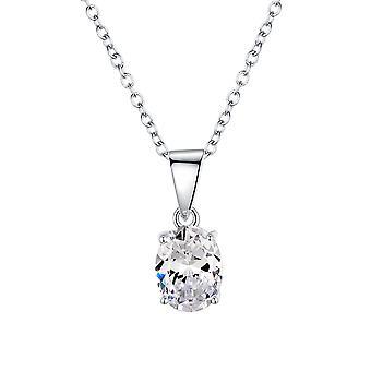 925 sterling sølv oval cut sten vedhæng halskæde