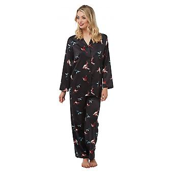 Camille Camille Womens gedrukte lange mouw pyjama set