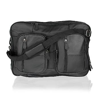 Black Leather Multi Pocket Satchel Briefcase Ruck Sack 18,5