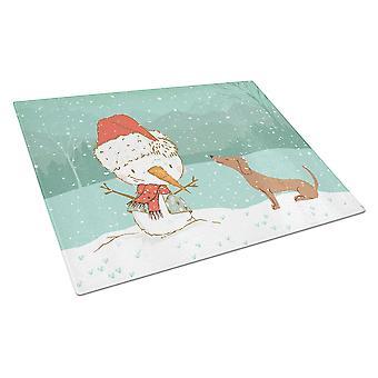 Punainen Mäyrä koira lumi ukko joulua lasin leikkuu lauta suuri
