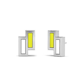 Simon Pagenaud Sterling Silver Asymmetric Enamel Stud Earrings In Yellow and White