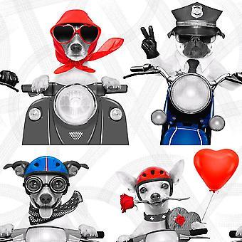 Rot weiß blau Scooter Biker Hunde Wallpaper Motorrad Herzen Metallic Muriva