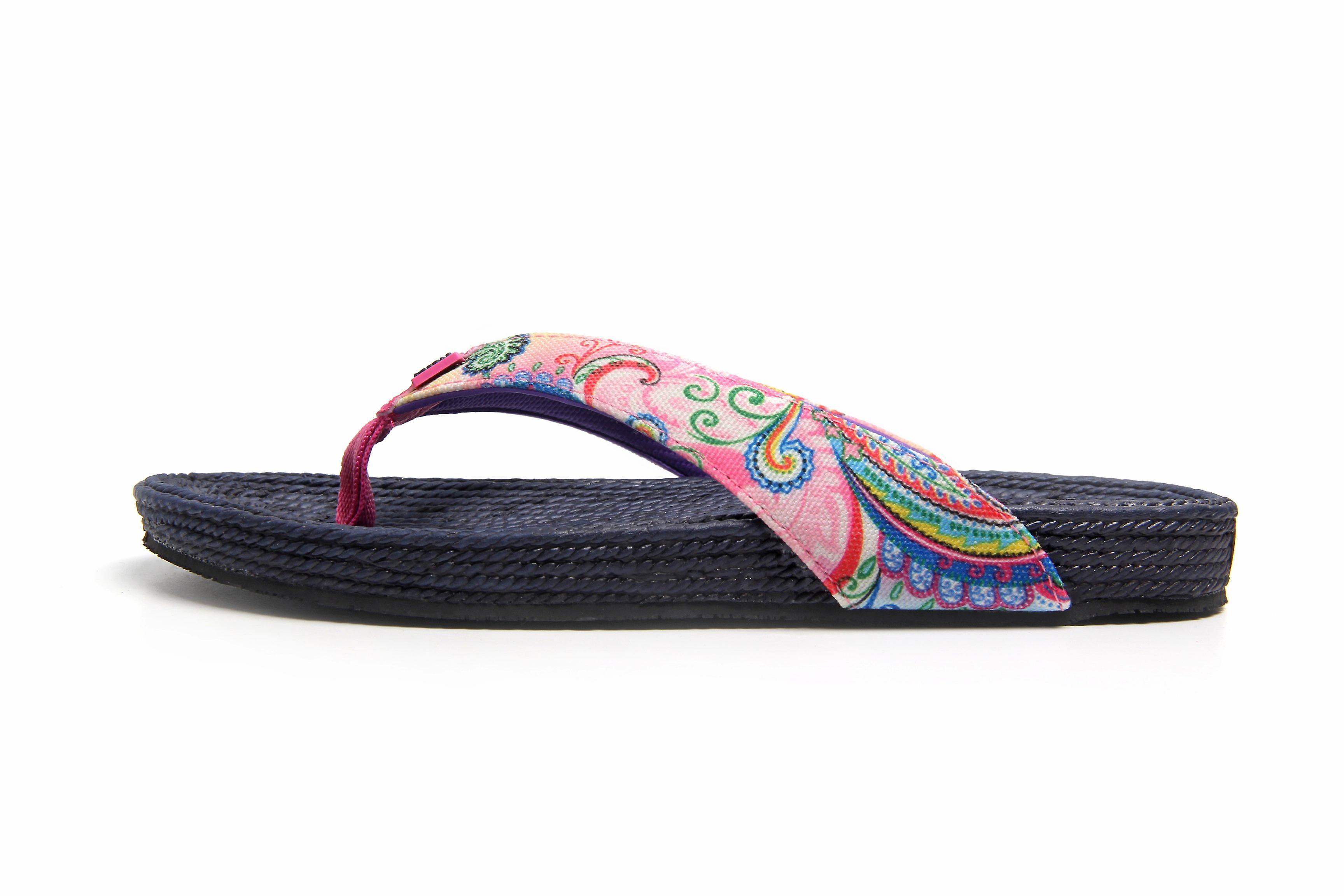 Fancy whirl navy flip flops