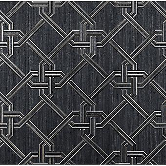 Arthouse Gianni Metallic Foil Geo Twist Knot Pattern Textured Lined Wallpaper 903108