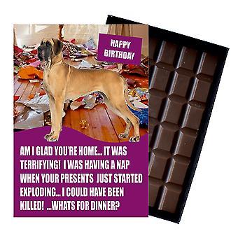 Great dane śmieszne urodziny prezenty dla miłośnika psów w pudełku czekolada powitanie karty prezent