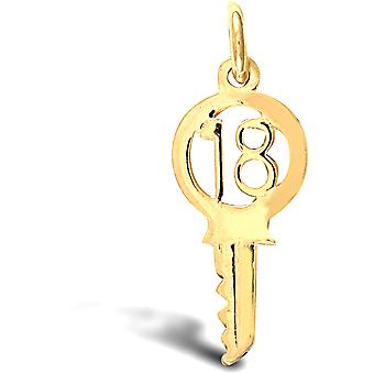 Jewelco London Ladies Solid 9ct Yellow Gold 18 Birthday Key Charm Pendant