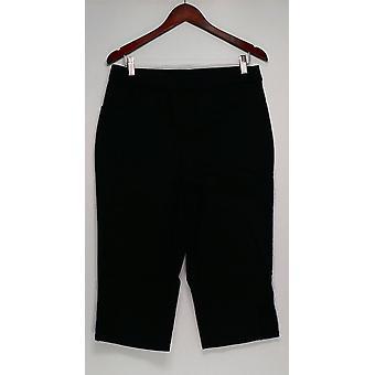 Denim & Co. Damen's Hose Capri mit häkeln Detail schwarz A296395