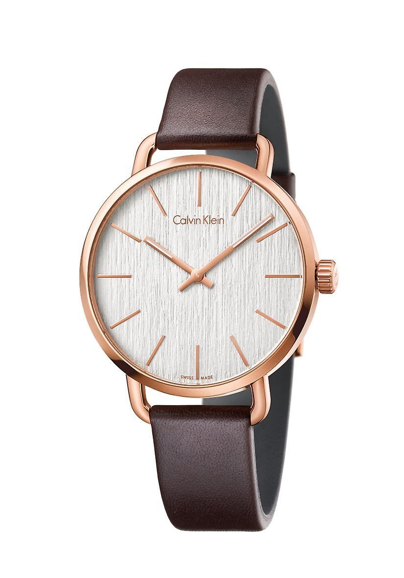 Calvin Klein Even Brown Leather Strap Watch K7B216G6