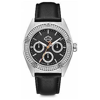 Harley Davidson Womens Crystal Set | Black Dial | Black Leather Strap 76N102 Watch
