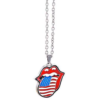 The Rolling Stones Necklace USA Tongue Band Logo Pendant new Official
