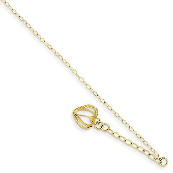 14k Yellow Gold Polished Spring Ring Oval Link Chain With Sparkle Cut Open Love Heart Cage With 1in Ext Anklet 9 Inch Je