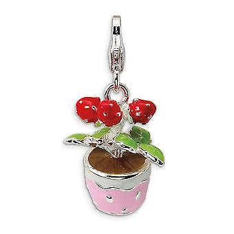 925 Sterling Silver Rhodium verguld Fancy Lobster Sluiting 3 D geëmailleerde bloemen in pot met kreeft gesp charme hanger ne