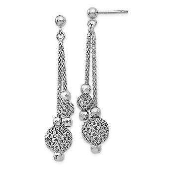 925 Sterling Argent Poli et Texturé Post Long Drop Boucles d'oreilles Bijoux Bijoux pour les femmes