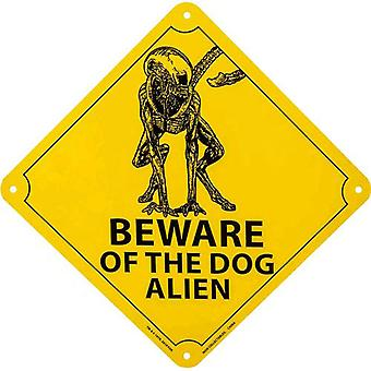 Alien Beware of the Dog Alien Tin Sign