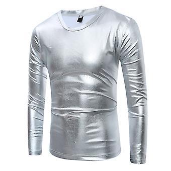 Allthemen miesten ' s Slim Fit myydään kiiltävä syksy & kevät rento T-paita