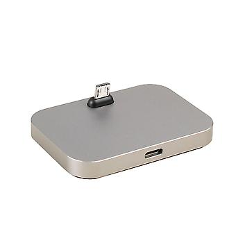 (Silver) Flat Dock Charger Station Micro USB Desktop Charging Stand For Samsung Z2