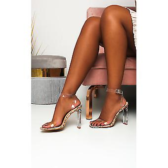 IKRUSH Womens Lindy Perspex Schlange Print Heels