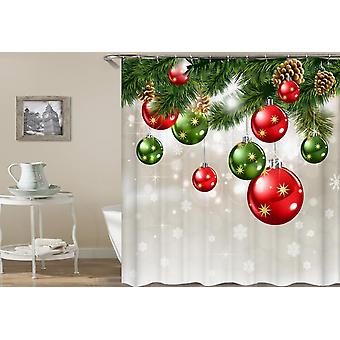 Red And Green Christmas Ornaments Shower Curtain