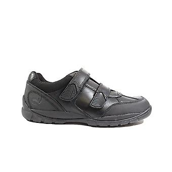 Startrite Crater Black Leather Boys Rip Tape School Shoes