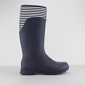 Muck Boots Cambridge damer gummi Wellington stövlar Marinblå/vit rand