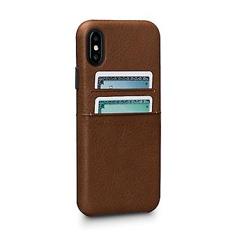 Hull For IPhone Xs / IPhone X In True Leather Brown Card Holder