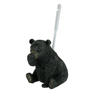 Stinky Pete Black Bear Holding Nose Rustic Toilet Brush and Holder Set