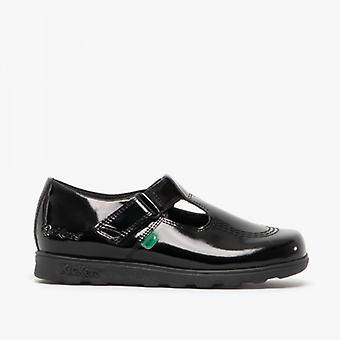 Kickers Fragma T-bar Junior Girls Leather Shoes Patent Black