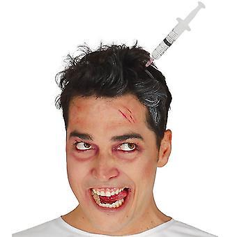Tiara con accesorio de Halloween de jeringa