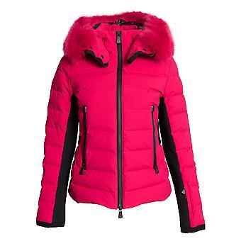 Moncler Lamoura Fur-Trimmed Down Puffer Coat Size 3 in Fuchsia